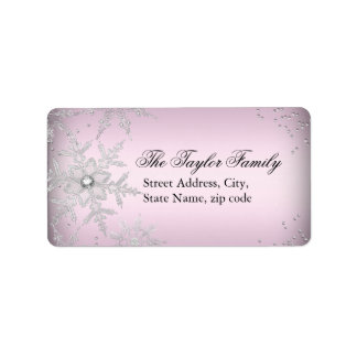 Pink Crystal Snowflake Christmas Address Labels