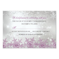 Pink Crystal Snowflake Christmas Party RSVP Card