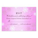 "Pink Crystal Snowflake Winter Wonderland RSVP 3.5"" X 5"" Invitation Card"