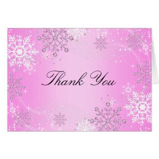 Pink Crystal Snowflake Winter Wonderland Thank You Card