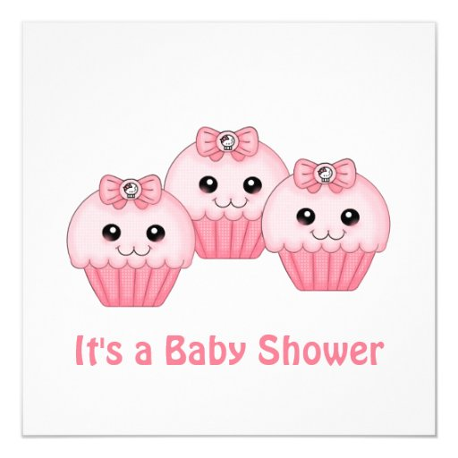 Pink Cup Cake Baby Shower Invitation