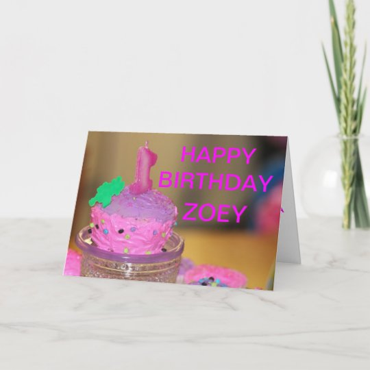 Pink Cup Cake Birthday Card For A 1 Year Old Zazzle