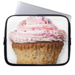 Pink cup cake, on white background, cut out computer sleeves