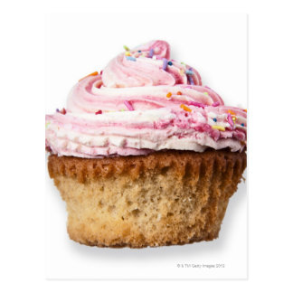 Pink cup cake, on white background, cut out postcard