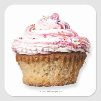 Pink cup cake, on white background, cut out square sticker