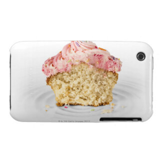 Pink cup cake sat on a porcelain cake stand, on Case-Mate iPhone 3 cases