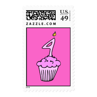 Pink Cupake Fourth Birthday Postage