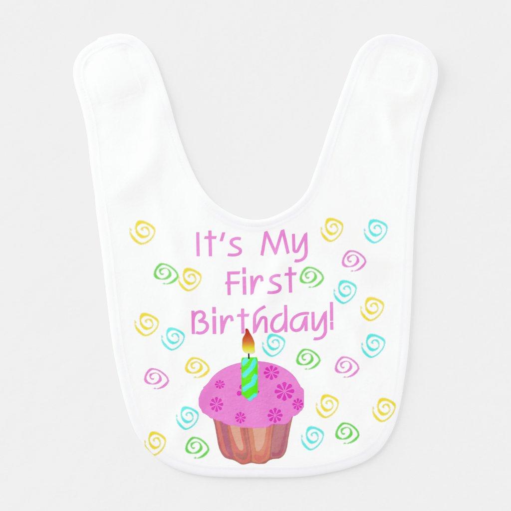 Pink Cupcake 1st Birthday Bib