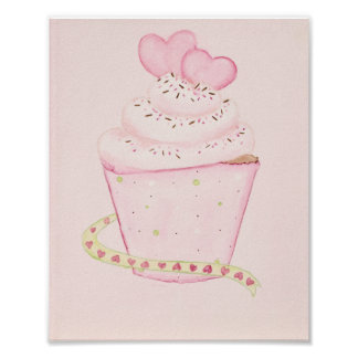 Pink Cupcake 8 x 10 print Poster