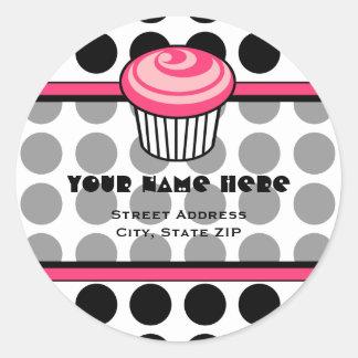 Pink Cupcake Address Label - Black Polka Dot Classic Round Sticker