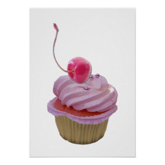 Pink Cupcake and Cherry Poster