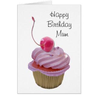 Pink Cupcake and Hearts Card