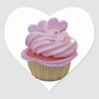 Pink Cupcake and Hearts Heart Sticker