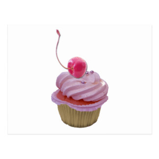 Pink Cupcake and Hearts Post Card