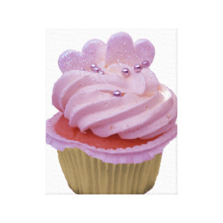 Pink Cupcake and hearts Wrapped Canvas Stretched Canvas Prints