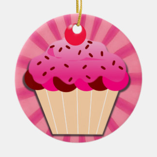 Pink Cupcake And Sprinkles Ceramic Ornament