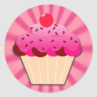 Pink Cupcake And Sprinkles Classic Round Sticker
