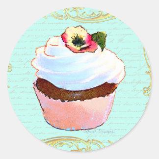 Pink Cupcake Art Design Round Stickers