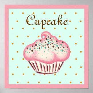 Pink Cupcake Art Poster Print