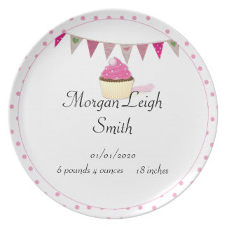 Pink Cupcake Baby Plate
