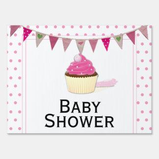 Pink Cupcake Baby Shower Yard Sign