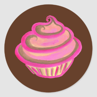 Pink Cupcake Bakery Birthday Party Stickers