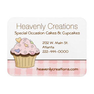 Pink Cupcake Bakery Business Card Magnet