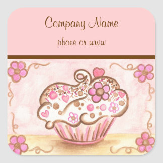 Pink Cupcake Bakery Business Stickers