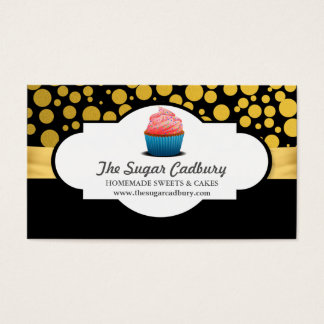 Pink Cupcake Bakery Gold Polka Dots Pattern Business Card
