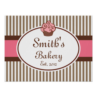 Pink Cupcake Bakery Sign Art  Print