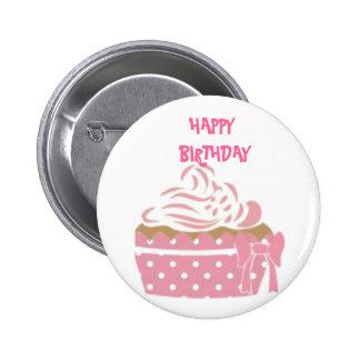 Pink Cupcake Birthday Badge Pinback Button