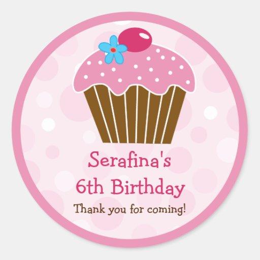 Pink Cupcake Birthday Gift Sticker