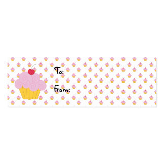 Pink Cupcake Birthday Gift Tags Business Card Templates