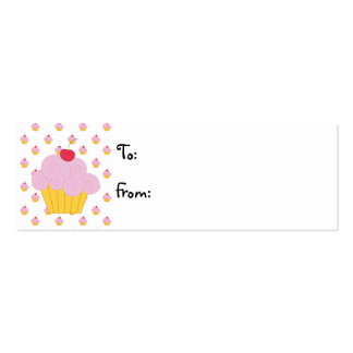 Pink Cupcake Birthday Gift Tags Business Cards