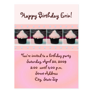 Pink Cupcake Birthday Invitation Postcards
