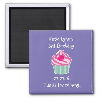 Pink Cupcake Birthday Party Favor Magnet