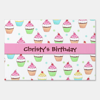 Pink Cupcake Birthday Sign Sign