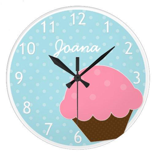 Pink Cupcake Blue Polka Dot Personalized Name Wall Clocks