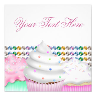 Pink Cupcake Candy Buffet Party Invitation
