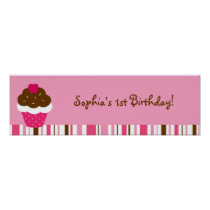 Pink Cupcake Cherry Birthday Banner Sign Poster