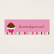 Pink Cupcake Cherry Birthday Goodie Bag Tags