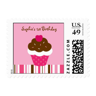 Pink Cupcake Cherry Birthday Postage Stamps