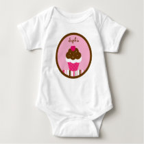 Pink Cupcake Cherry Girls Baby T-Shirt