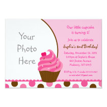 Pink Cupcake Cherry Girls Birthday Invitations
