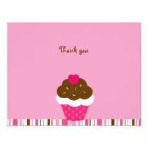 Pink Cupcake Cherry Thank You Note Cards