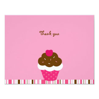 """Pink Cupcake Cherry Thank You Note Cards 4.25"""" X 5.5"""" Invitation Card"""