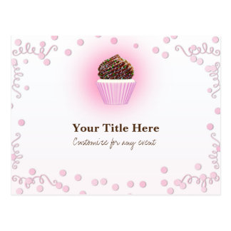 Pink Cupcake Confetti Birthday Party Event Flyer Postcard