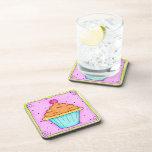 Pink Cupcake Cork Coaster Set