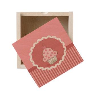 Pink Cupcake Design Wooden Keepsake Box