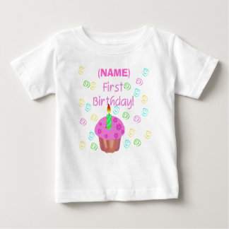 Pink Cupcake First Birthday Customized Tshirts